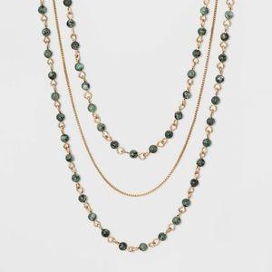 Brass Semi Jade Multi Row Necklace - Green/Gold